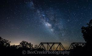 Fine Art photo, Night Stars over railroad bridge, images, milkway over texas railroad bridge, milky way, night stars, photos, pictures, railroad bridge, stars over bridge, stock photos