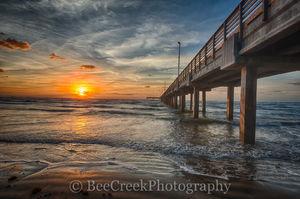 Caldwell pier, Texas piers, texas pier, Port A, Port Aransas, Sunrise, Texas Coast, Texas beach, beach, coast, fishing pier, gulf of mexico, landscape, nature, ocean, sand, sea weed, seascape, surf, t