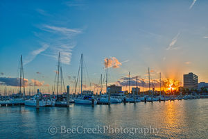 Corpus Christi sunset, Texas coastal, bay, boats, city, colorful sky, docks, marina, ocean, reflections, sailboats, seascape, seawall, water, yachts