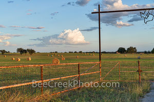 Haybales, haybales, Texas Hill Country, landscape, grasses, round bales, feed, horses, cows, goats, sheep, sunset, clouds, evening, farmer, field, llano, Texas, gate,