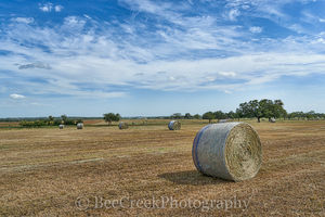 Haybales, blue sky, clouds, crop, farm, ranch, texas, images of texas,