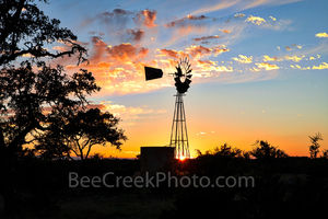 Texas, windmill, sunset, texas hill country, landscape, Texas windmill, silouette, twinkle, horizon, trees, water tank, blades,