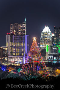 Austin, Christmas, Christmas season, Trail of lights Ausitn, Zilker Christmas tree, austin skyline, city, cityscape, cityscapes, downtown, holidays in Austin, images of austin, photos of austin, verti