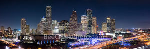 aerial houston skyline night, Houston skyline, aerial, night, IH45, downtown, city, Aquarium, ferris wheel, city hall, rainbow, colors, colorful, modern, high rise, southern US, Texas, culture, parks,