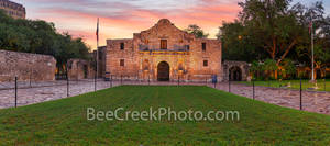 Texas Alamo, San Antonio, Alamo sunrise pano, historic, history, landmark, pano, panorama, downtown, city, mission, sunrise, dusk, twilight, sunset, Santa Anna, mexico, tourist, travel, historic landm