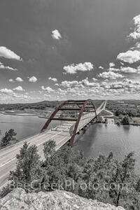 Austin 360 Bridge BW Pop of Red Vertical
