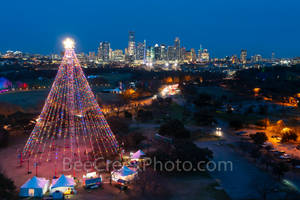 Austin, Aerial, Zilker Christmas Tree, Austin skyline, downtown,  city, high rise, moon tower, downtown, zilker holiday tree,