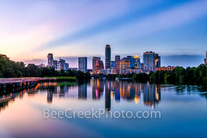 Austin Skyline, blue hour, twilight, violet crown, austin, skyline, pics of texas, boardwalk, violet, purple, pink, sunset, blue hour, buildings, reflections, water, lady bird lake, downtown, urban, l