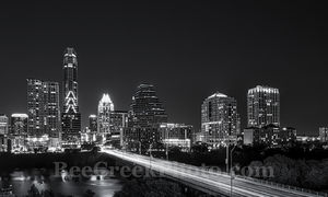 Austin, cityscape, skyline, black and white, BW, Congress bridge, night, downtown, high rise, buildings, Lady Bird Lake, city,