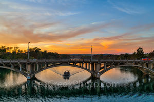 Austin Lamar Bridge, cityscape, Lady Bird Lake, sunset, sky, color, tour boat, historic arch bridge, National Registriy of Historic Places, cars, Austin Lamar Bridge at Sunset
