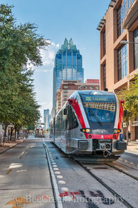 Austin, Rail, light, metro, downtown, city, cityscape, Frost, skyscraper, buildings, mass transit, station, Courtyard Marriott, lifestyles, lifestyle,