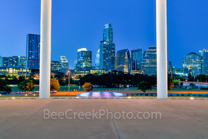 Austin Long Center Twilight, Long Center, Lady Bird Lake, performing art, pavillian, Austin skyline, cityscape, city, downtown,