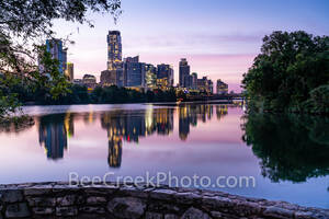 Austin skyline, Lou Neff Point, Lou Neff, architecture, sunrise, pinks, violets, purple, Lady Bird Lake, barton creek, water, reflection, reflections, buildings, skyscrapers, Austonian, Independent,