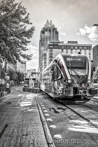Austin, Rail, Metro, downtown, cityscape, skyline, city, skyscraper, black and white, Frost, Courtyard Marriott, Convention Center,
