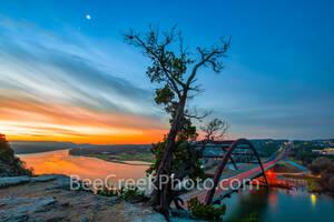 Austin 360 Bridge, sunrise, 360 bridge, Austin pennybacker bridge, Pennybacker bridge,  Austin, Lake Austin, orange, images of texas, texas rivers, landmark, Texas Hill country,