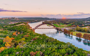 texas, austin texas, austin pennybacker bridge, austin 360 bridge, austin tx, city of austin, twilight, magic hour,  lake austin, 360 bridge, bald cypress, fall, autumn, reflections, austin skyline, d