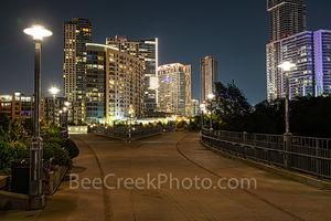 Austin, pedestrian bridge, town lake, Ladybird Lake, Austin Pfluger Bridge, Night, Austin Texas,  architecture, Austin architecture, James D. Pfluger Pedestrian and Bicycle Bridge , downtown, condos,