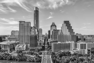 Austin Skyline in Black and White, aerial, austin skyline, downtown, skyline, city, cityscape, black and white, BW, Congress Ave, high-rise, buildings, Frost, Austonian, One Congress Plaza, Radisson,
