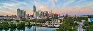 Austin skyline, aerial, drone, sunset, pics of texas, pics of austin, lamar bridge, lady bird lake, clouds, pink, orange, sky, clouds, hike and bike trail, colorado river, architecture, beecreekphoto,