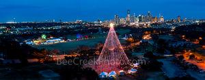Austin, Aerial, Zilker Christmas Tree, Austin skyline, downtown, pano, panorama, holiday season, trail of lights,