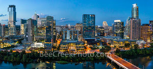 Aerial, Austin Skyline, dusk, twilight, Austin, skyline, aerial, blue hour, lady bird lake, hike and bike trail, cityscape, water, pano, panorama, tallest building, Independent, Jingle, Google, Norths