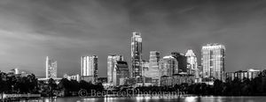 Austin Skyline in Black and White, skyline, city, cities, cityscape, cityscapes, black and white, bw, architecture, architectural, texas city, urban scene, downtown, city scene, panorama, pano, panora