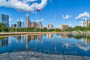 Austin, skyline, cityscape, Austin Skyline Reflection, downtown, water, Long Center, reflections, cityscape, city, blue sky, clouds, buildings, high rise, images of austin, images of austin skyline, T