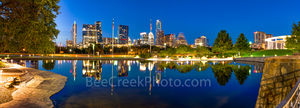 Austin, skyline, Austin Skyline, Austin Skyline Reflection Pano, Center, reflections, pool, Butler Park, Palmer Event Center, path, bench, city, cityscape, downtown, urban, high rise, buildings, skysc