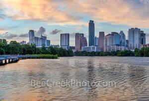 Austin Skyline, Sunset, urban, pink, glow, lady bird lake, shoreline, boardwalk, high rise, buildings, pics of texas, skyline, parks, hike and bike trails, landscape