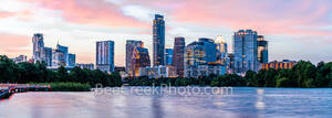 Austin Skyline at twilight, glow, pink, Dusk Panorama, pano, Austin skyline, pics of texas, Austin cityscape, austin pictures, downtown, shoreline, lady bird lake, town lake, cityscape, Independent, A