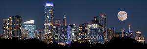 Austin Skyline with Moon Pano