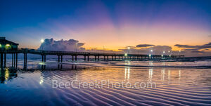 pier, colorful, dawn, pre dawn, waves, violet, orange, purple, reflections, caldwell pier, port a, port aransas, texas, aransas pass, mustang island, beach ripples, beach, ocean, seascape, seascapes,