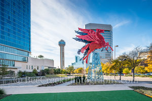 Dallas, Magnolia Hotel, Magnolia Oil company. symbol, Pegasus, cityscape, cityscapes, downtown, flying horse, neon, neon sign, oil derrick, red