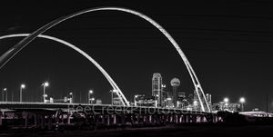 Dallas skyline, black and white, BW, cityscape, Margaret McDermott Bridge, downtown, dark, steel bridge, suspended, two arches, Trinity River, I30, Trinity project, Santiago Calatrava, pedestrian, bik