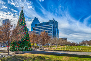 Christmas Tree, Dallas, Klyde Warren, blue sky, buildings, cityscape, cityscapes, downtown, park, urban, winter