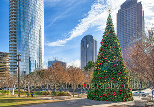 Christmas Tree, Dallas, Klyde Warren Park, buildings, cityscape, high rises, ornaments, people, skyline, urban