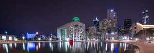 Dallas city hall, night, AT&T, City Hall, Comercia, Cotton Bowl, Dallas, Omni, architecture, bank of america, cities, city, cityscape, cityscapes, downtown, fountain, images of dallas,  pano, panorama