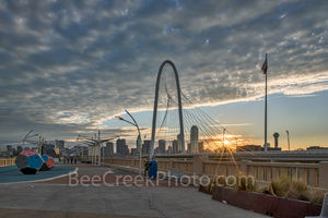 Dallas, sunrise, cityscape, Margaret Hunt HIll bridge, city, pedestrian bridge, Ron Kirk Avenue Bridge, downtown, Continental Avenue bridge,