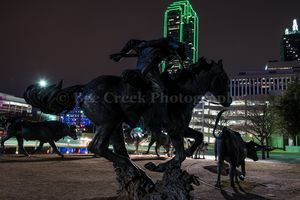 19th century, Dallas, Pioneer Plaza, cattle drive, cowboy trail rider, horse, longhorn bronze statues, park, steer, west, western