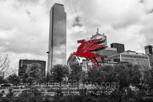 Dallas Downtown BW, red pegasus, skyline, Dallas downtown, black and white, BW, Pegasus, Magnolia Petroleum Building, Magnolia Hotel, flying horse, red pegasos, greek mythology, Bank of America plaza,