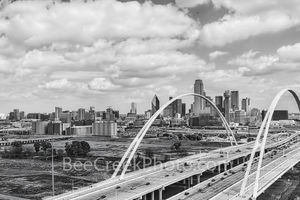 Dallas, McDermont Bridge, black and white, b w, aerial, Omni Hotel, Reunion Tower, bank of america, fountain plaza, iconic, buildings, downtown,