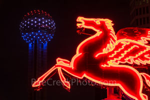 Dallas Reunion Tower and Pegasus, night,  Neon,  Pegasus, dark Reunion Tower, downtown, city,, landmarks, night, dark,Dallas stock photos, Dallas stock photos,