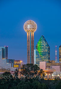 Dallas, Fountain Place, Hyatt Regency Hotel, city, dark, downtown, night, reunion tower