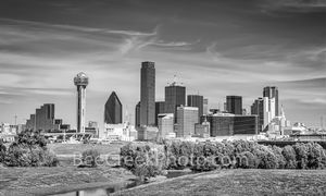 Dallas, skyline, trinity, b w, black and white, downtown, texas, dallas downtown, city of dallas, dallas skyline, trinity river, river,
