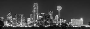 Skyline of Dallas Pano, night, black and white, b w, Dallas skyline, skylines, cityscape, cityscapes, city, downtown, citie, Reuion Tower, Heritage Plaza, Fountain Place, Bank of America, Omni Hotel,