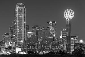 Dallas, skyline, black and white, b w, downtown,