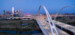 Dallas skyline, pink, panorama, Margaret McDermott Bridge, downtown, twilight, blue hour, Susan B Komen, Race for the Cure, Bank of America, Reunion Tower, Omni, steel, bridge, arches, Trinity River,,