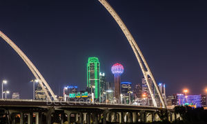 Dallas, skyline, Margaret McDermott Bridge, downtown, dark, steel bridge, suspended, arches, Trinity River,, IH30,  Trinity project, Santiago Calatrava, pedestrian, bike path, hike and bike trails,