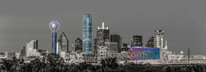 dallas skyline, black and white, touch of color, landmark, reunion tower, tower of america, omni, pop of color, cityscape, buildings, downtown, dallas, bw,