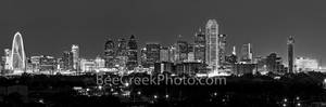 Dallas Skyline Night BW Pano